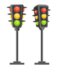 Traffic light. Vertical traffic signals with red, yellow and green lights. Cartoon style design. Vector illustration isolated on white background. Web site page and mobile app design