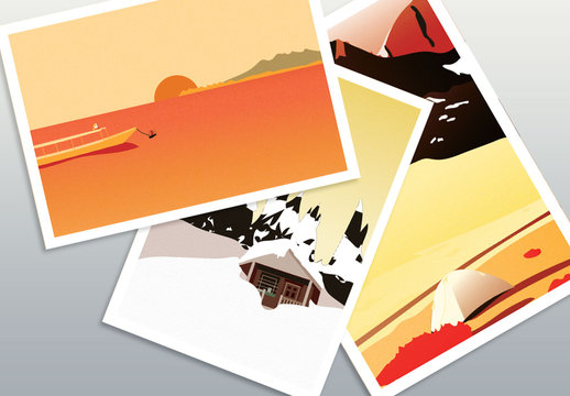 Warm Illustrative World Travel Postcard Set