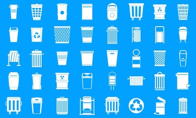 Garbage can icon blue set vector