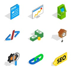 Business interactive icons set, isometric style