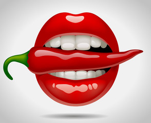 Female sexy mouth with red pepper