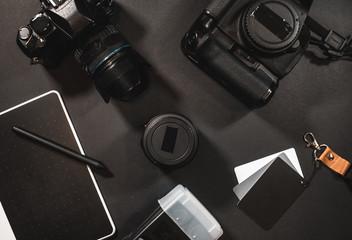 photographic equipment on desk
