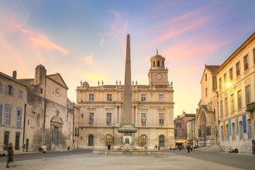 Fototapete - Arles Town Hall at Sunset, France