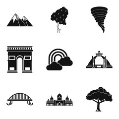 World picture icons set, simple style