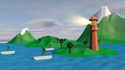 Lowpoly Landscape with Boats, Islets, Spotlight