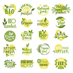 Set of isolated bio product logo, vegetarian food
