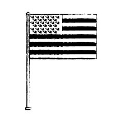 united state of america flag in pole symbol vector illustration sketch