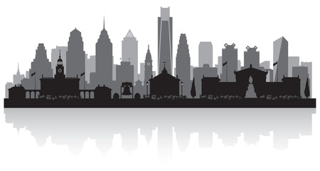 Wall Mural - Philadelphia Pennsylvania city skyline silhouette