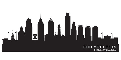 Fototapete - Philadelphia Pennsylvania city skyline vector silhouette