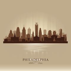 Philadelphia Pennsylvania city skyline vector silhouette