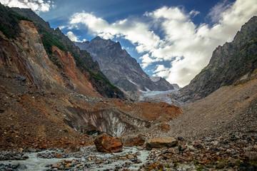 Beautiful mountain landscape of Chaladi Glacier. Upper Svanetia. Georgia