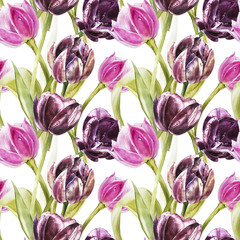 Flowers of Tulips. Watercolor hand drawn botanical illustration of flowers. Seamless pattern.