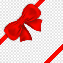 Red bow with ribbons on transparent background. Realistic satin gift bow with knot