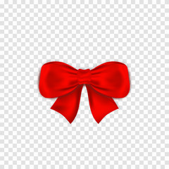 Red bow isoltaed on transparent background. Realistic satin gift bow with knot