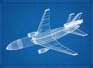 Airplane 3D blueprint