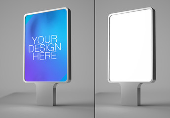 Advertising Kiosk on Gray Background Mockup