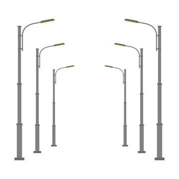 Street lamp isolated on white background. Vector illustration