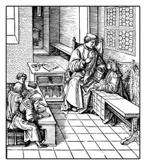 Holy Roman Emperor Maximilian tutoring the to be christened children, reproduction from an engraving of Hans Burgkmair, XVI century
