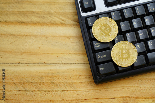 Bitcoins and New Virtual money concept  Gold coins for
