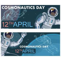 Set of Astronaut with helmet. Space cosmonaut in spacesuit. Vector astronaut character.