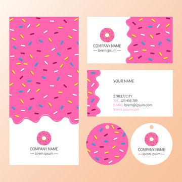 Pink donut glaze business card.