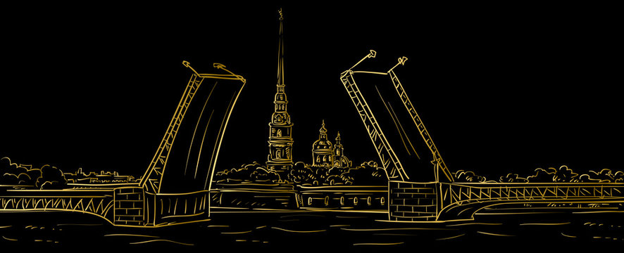Peter and Paul Fortress. Drawbridge, symbol of Saint Petersburg, Russia. Hand drawn vector illustration. Gold outline.