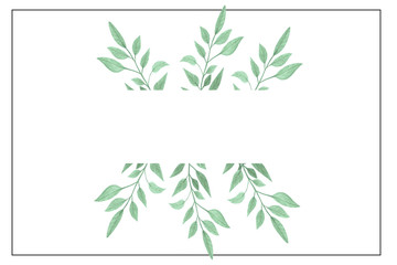 Watercolor hand painted green floral frame for banner, wedding, greeting card.