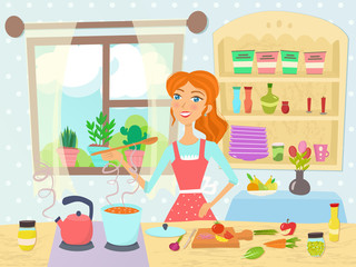 Cooking woman in kitchen. Vector illustration.