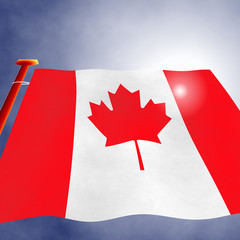Illustration of a Canadian flag on the flagpole, view up