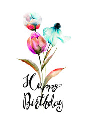 Stylized flowers watercolor illustration with title Happy Birthday