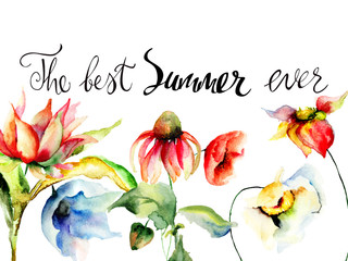 Template for greeting card with calligraphy with title the best summer ever