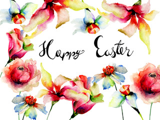 Flowers watercolor illustration with title Happy Easter