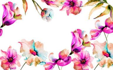 Template for greeting card with spring flowers