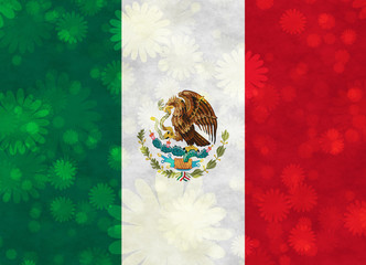Mexican Flag with blooms scattered around
