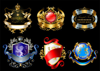 Vector set of colorful royal stickers with crowns, shields, ribbons, lions, stars isolated on black background. Luxurious emblems with heraldic ornament, premium quality labels for brand promotion