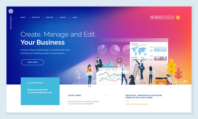 Effective website template design. Modern flat design vector illustration concept of web page design for website and mobile website development. Easy to edit and customize.
