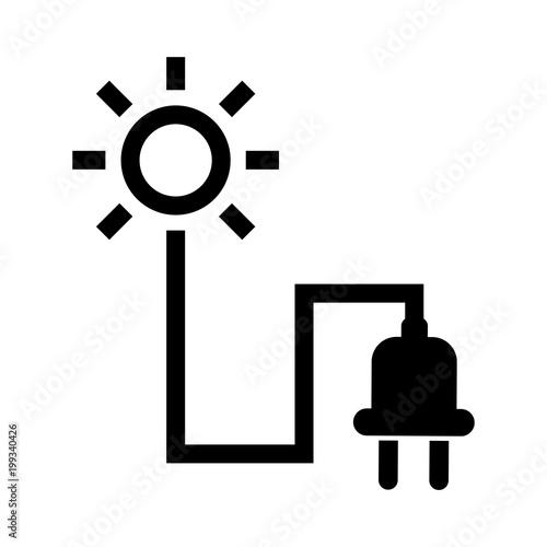 "Plug Power Stock Quote: ""Simple, Minimalist Solar Energy Icon. Black Sun And Plug"