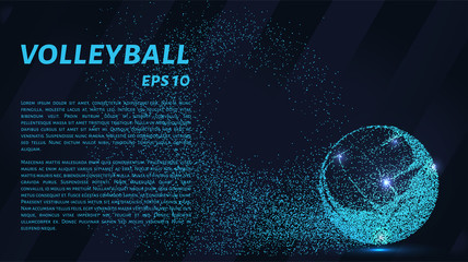 A volley of particles. Volleyball consists of small circles. Vector illustration.