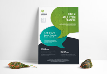 Flyer Layout with Talk Bubble Elements