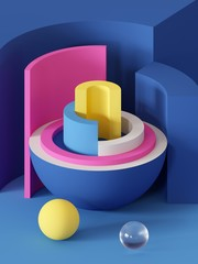 3d render, abstract geometric background, primitive shapes, toys, hemisphere, sector, bright colorful blocks