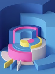3d render, abstract geometric background, primitive shapes, cylinders, sector, bright colorful blocks