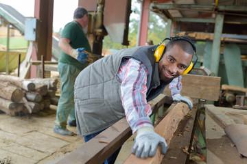 worker preparing the lumber