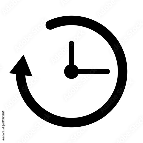 Simple, black clock/timer icon  Refresh time icon  Isolated