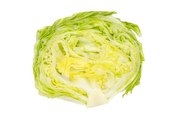 Iceberg lettuce half from above on white background. Crisphead. Fresh light green salad head. Sometimes called cabbage lettuce. Variety of Lactuca sativa. Isolated macro food photo close up.