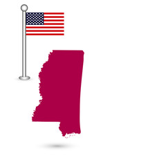 Map of the U.S. state of Mississippi on a white background. American flag