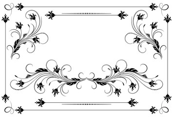 Decorative floral ornament in retro style isolated on white background