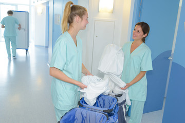 2 female cleaners at the hospital
