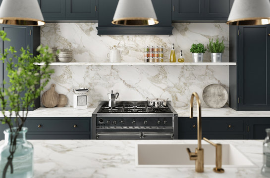 Cucina moderna realistica, design minimal in legno e marmo, render 3d