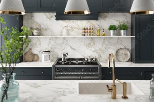 Cucina moderna realistica, design minimal in legno e marmo, render ...