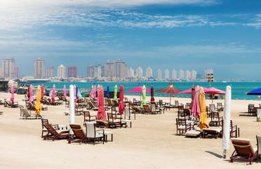 Öffentlicher Strand im Katara Kulturzentrum bei Doha, Katar